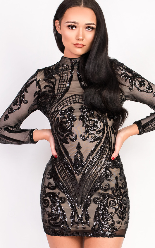 Alesha Sequin Long Sleeved Dress