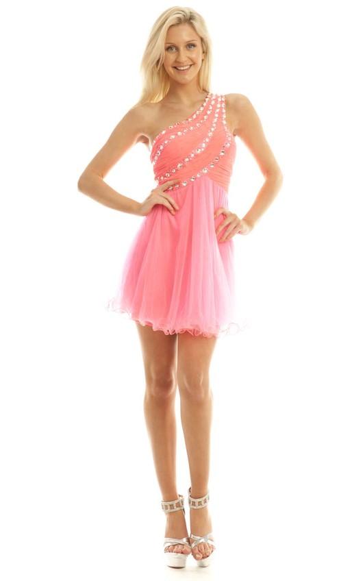 Abelia Neon Pink One Shouldered Embellished Prom Dress