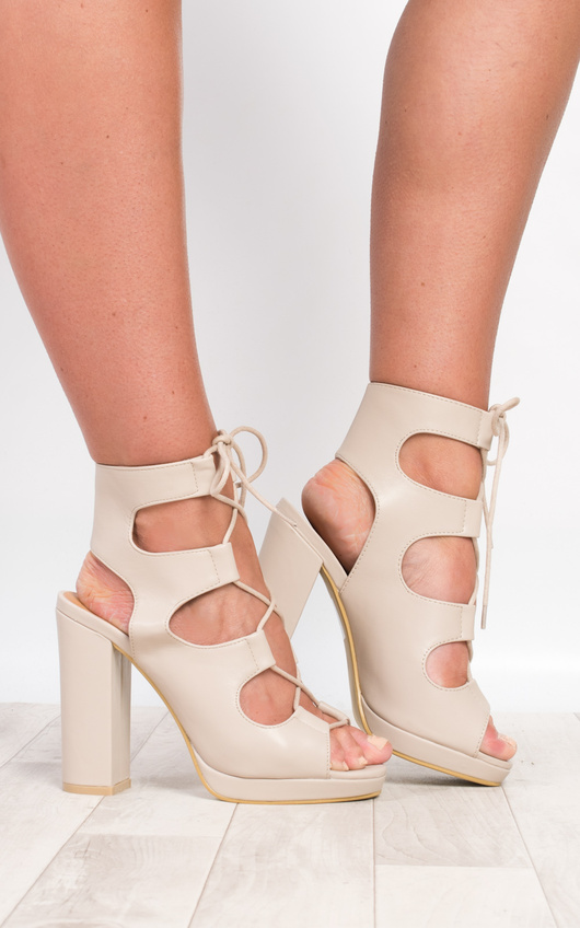 Oralia Block Lace-Up Heels