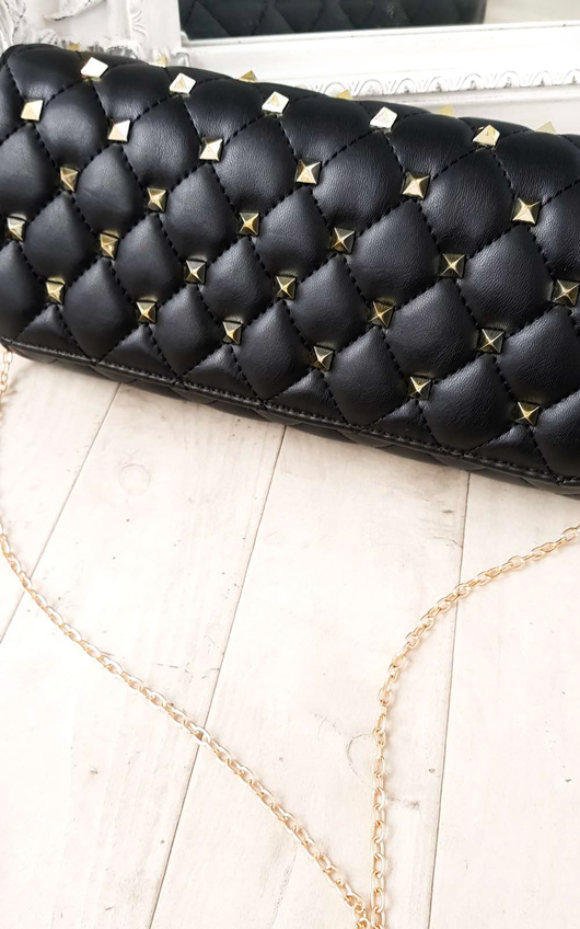 Laylia Quilted Gold Studded Clutch Bag