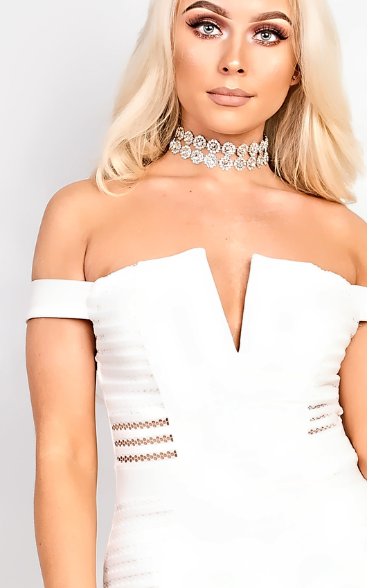 2698bd5d Zara Off Shoulder Bodycon Dress in Cream | ikrush