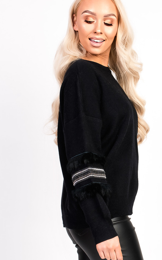 Kylie Embroidered Panel Sleeve Knitted Jumper