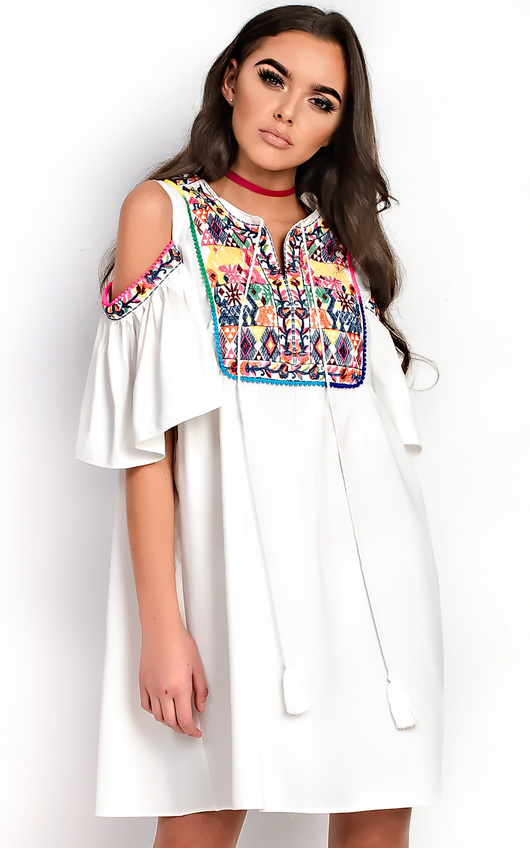 Abi Pattern Bright PomPom Shift Dress