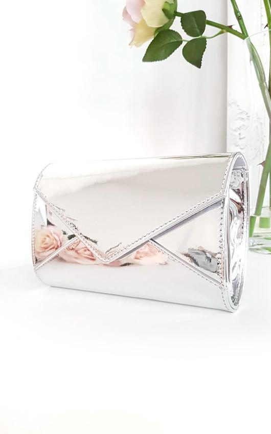 Amel Metallic Envelope Clutch Bag