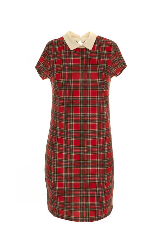 Daisy Collar Tartan Shift Dress