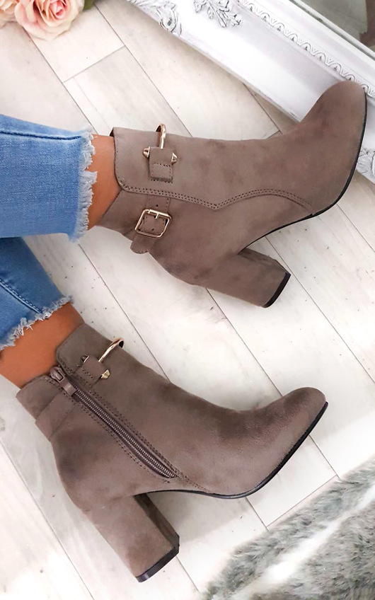 Isla Buckle Faux Suede Ankle Boots