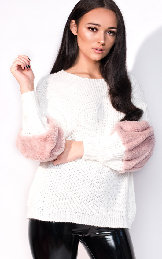 Anna Faux Fur Sleeve Knitted Jumper