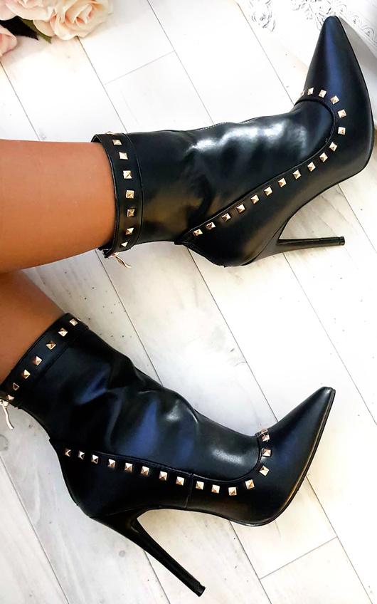 Cheryl PU Studded Ankle Boots