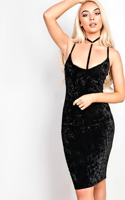Leonia Velour Choker Neck Bodycon Dress