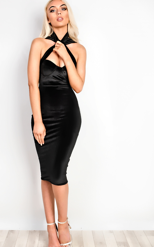 Tyler Velour Choker Neck Bodycon Dress