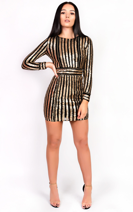 57064cc4d7bc Kassy Long Sleeved Sequin Bodycon Dress in Gold | ikrush