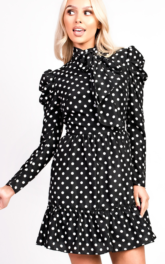 Emily Polka Dot Tie Neck Blouse Peplum Dress
