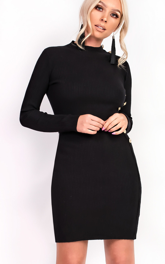 Priscilla High Neck Button Longline Jumper Dress