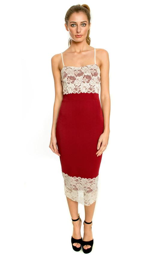 Jillian Midi Dress with Lace