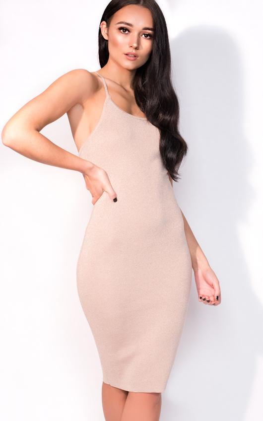 6dbfa084a079 Saskia Midi Luxe Bandage Dress in Rose gold | ikrush
