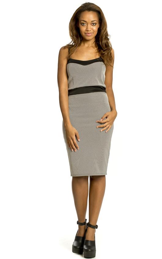 Tessie Black and White Dotted Midi Dress