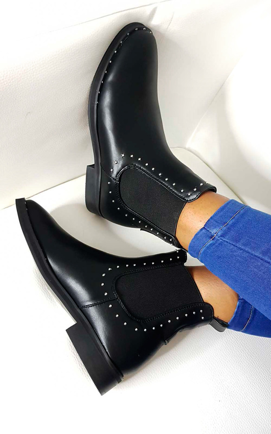 Robyn Studded Chelsea Faux Leather Ankle Boots