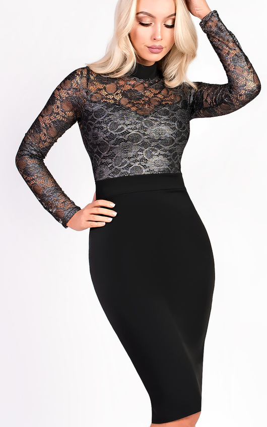 Pixie Midi Long Sleeve Lace Dress