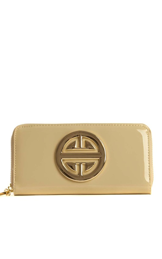 Mary-Kate Beige and Gold Symbol Purse