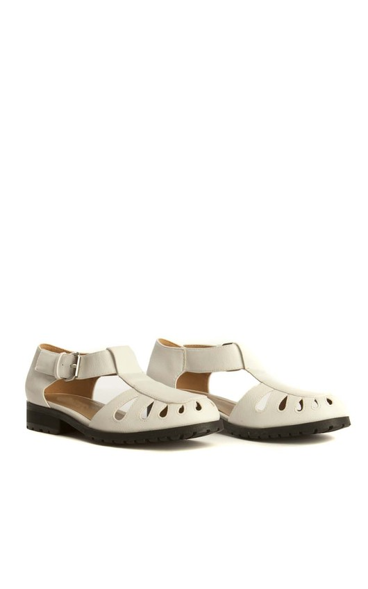 Maya White Buckle Shoes