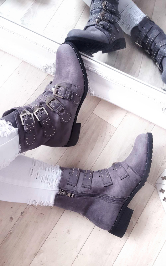 Alexis Studded Buckle Faux Suede Ankle Boots