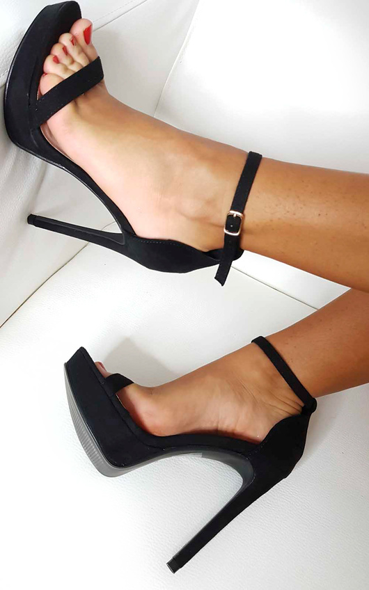Ella Barely There Faux Suede Platform Heels