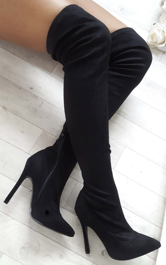 Jordunn Faux Suede Knee High Boots