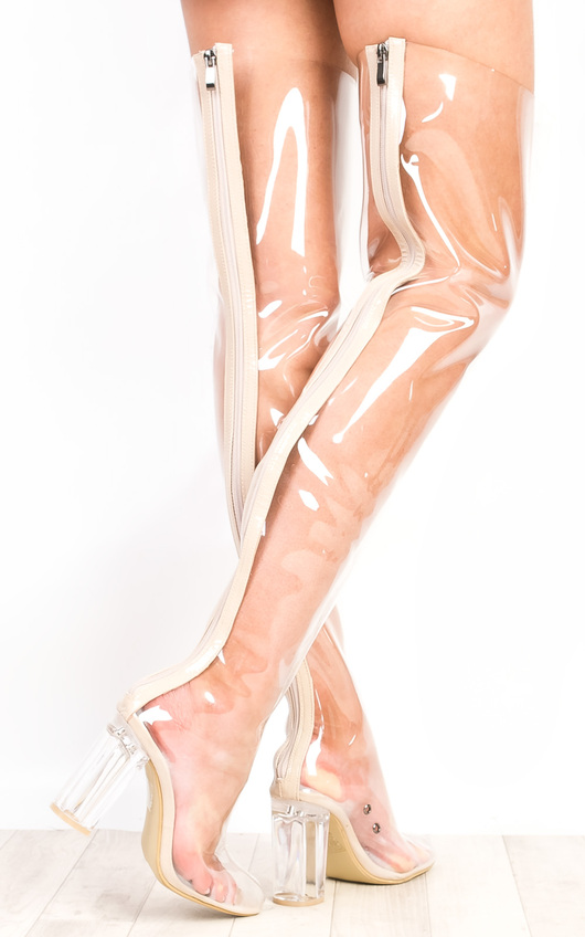Toriana Clear Knee High Boots