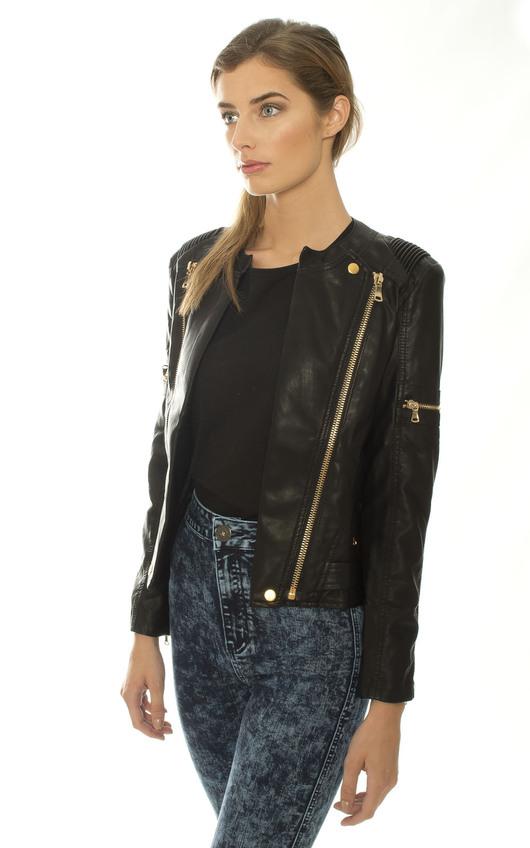 020c50fffa0b Viper Faux Leather Biker Jacket in Black | ikrush