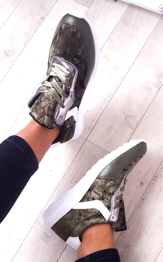 Kristen Velvet Lace Up Ribbon Trainers