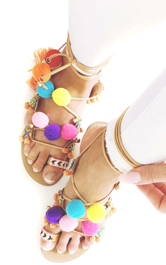 Pallavi Pom Pom Sandals