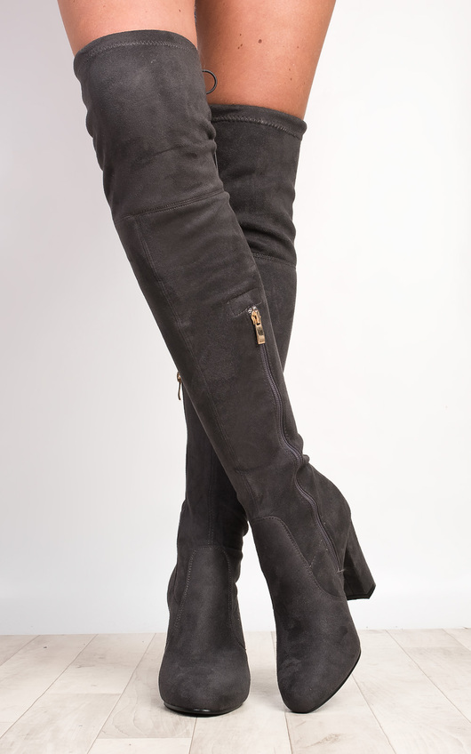 Avril Faux Suede Knee High Boots