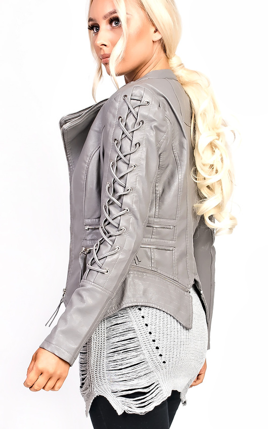 Kira Faux Leather Lace Up Jacket