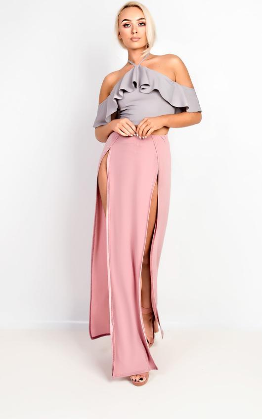 9cd0b5dcdf Lovato Double Thigh High Split Maxi Skirt in Rose | ikrush