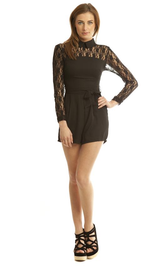 Cynthia Playsuit in Black