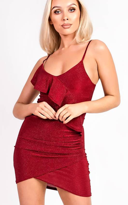 Rosie Cami Shimmer Bodycon Frill Dress