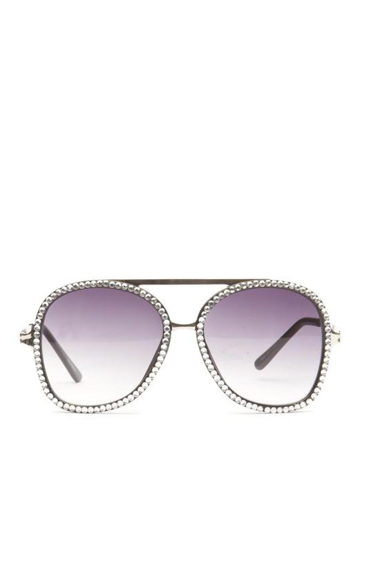 Tulip All Over Diamante Rim Sunglasses in Black