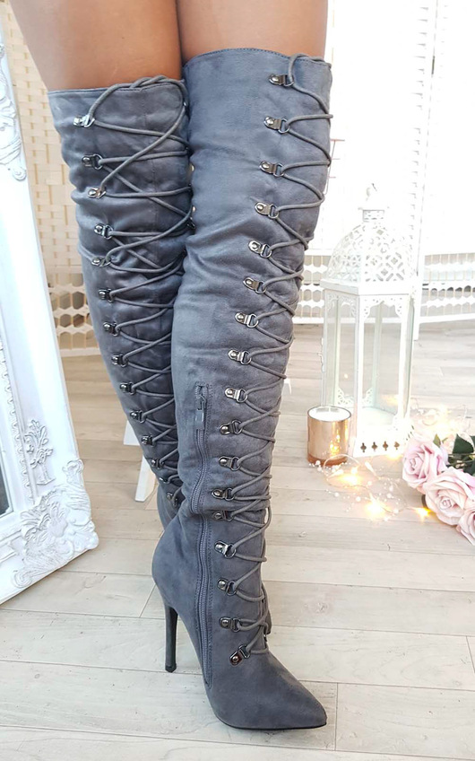 Alesia Corset Faux Suede Boots