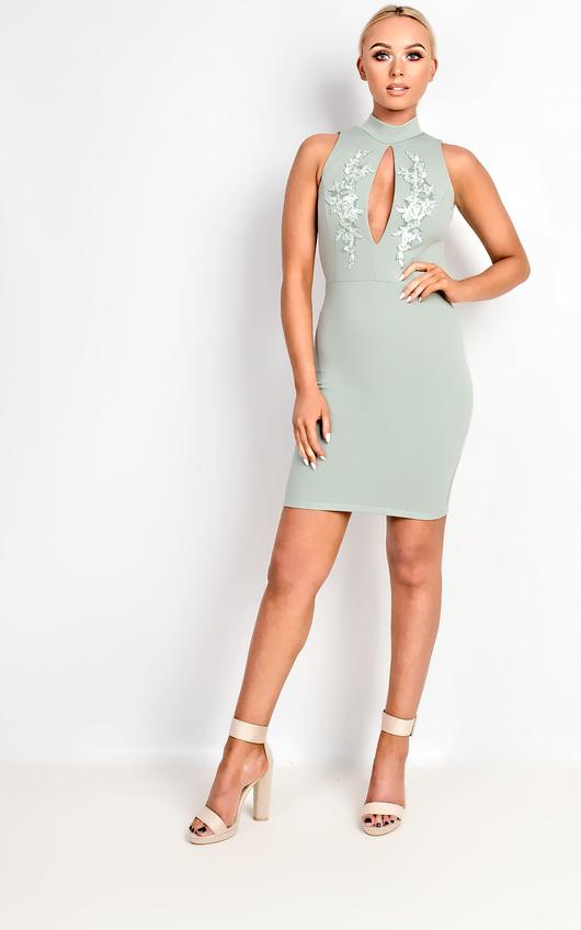 Raelynn High Neck Applique Bodycon Dress
