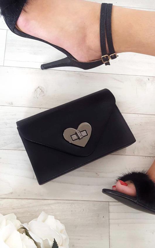Lilly Metallic Heart Detail Clutch Bag