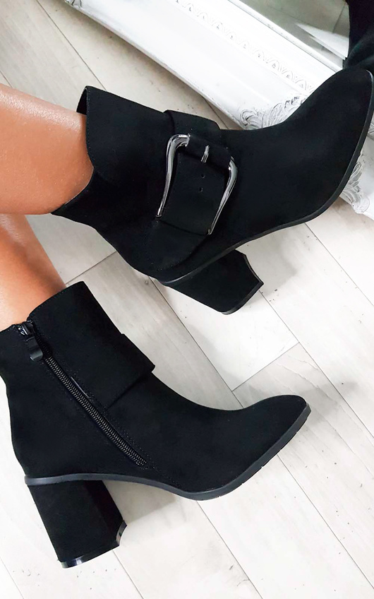 Carms Large Buckle Faux Suede Ankle Boots