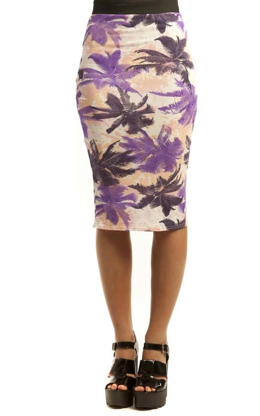 Cosette Palm Print Midi Skirt