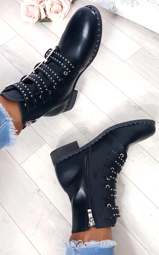 Tessa Studded Buckle Ankle Boots