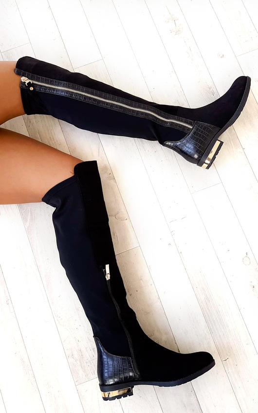 Tai Faux Suede Gold Bar Knee High Boots
