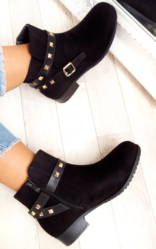 Alexia Studded Faux Suede Ankle Boots