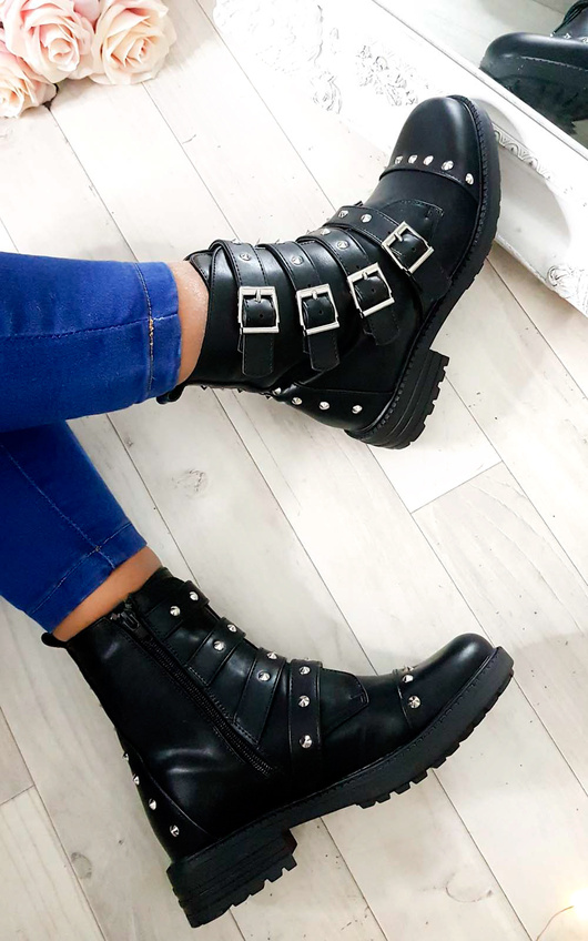 Brogan Studded Buckle Ankle Boots