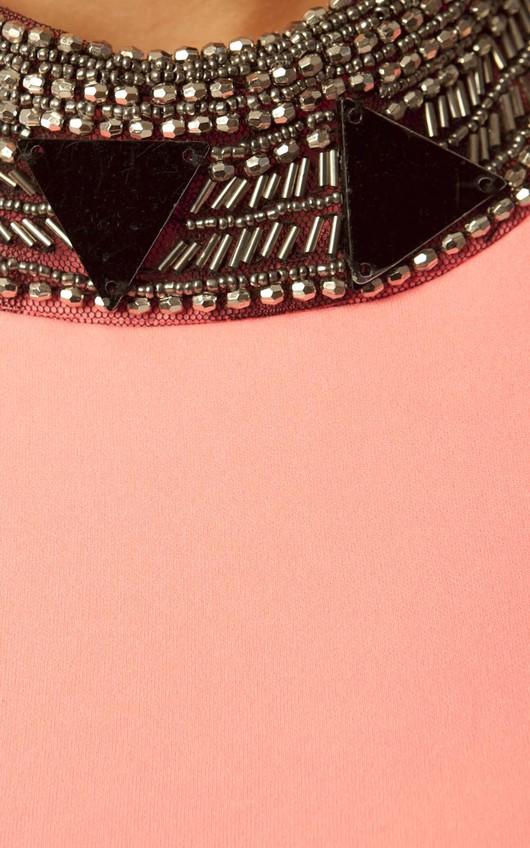 Cosima Embellished Jewel Peplum Top in Neon Pink