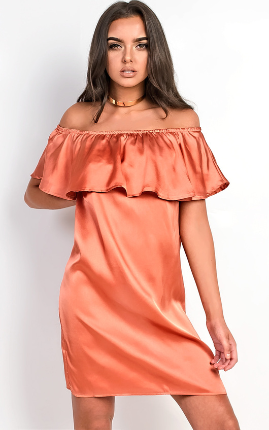 Rhodes Satin Bardot Dress