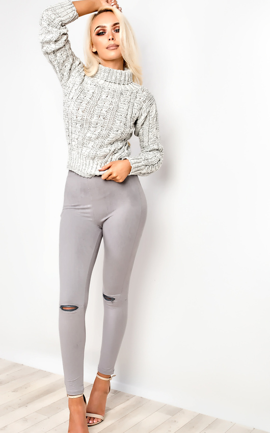 Ellis Faux Suede Zip Leggings