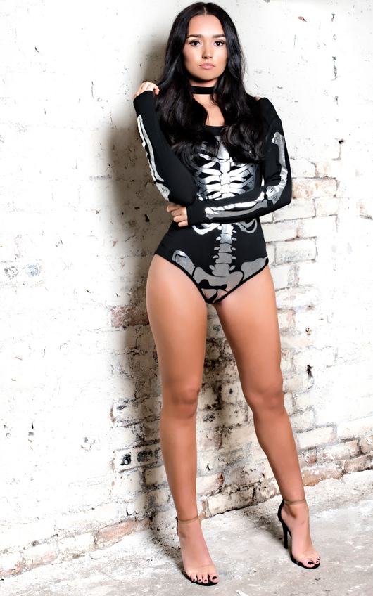 Skeleton Fancy Dress Metallic Bodysuit